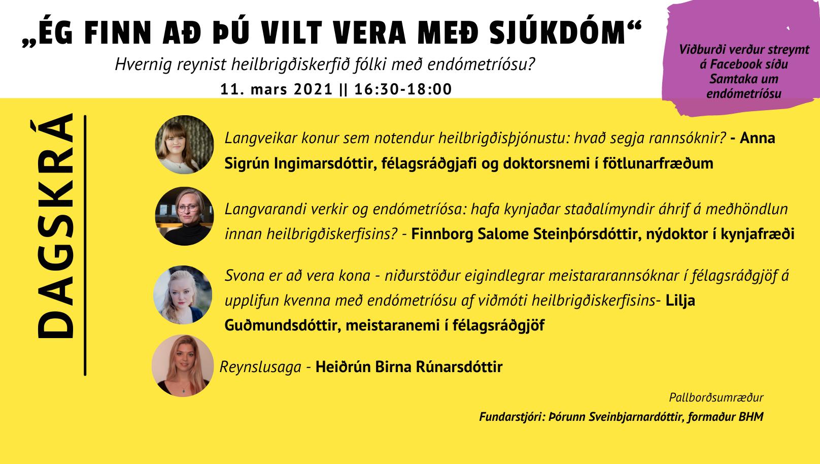 """,,Ég finn að þú vilt vera með sjúkdóm"""" – Málþing 11. mars"""